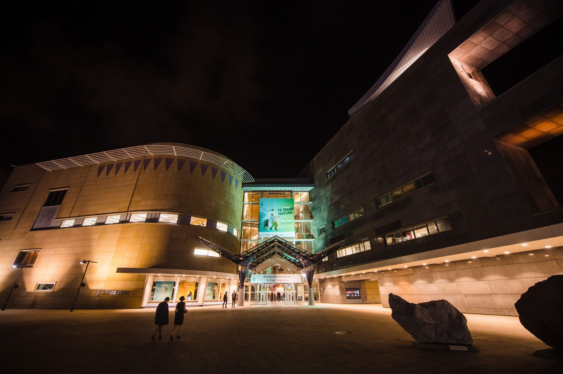 Te Papa museum at night with beautiful lighting