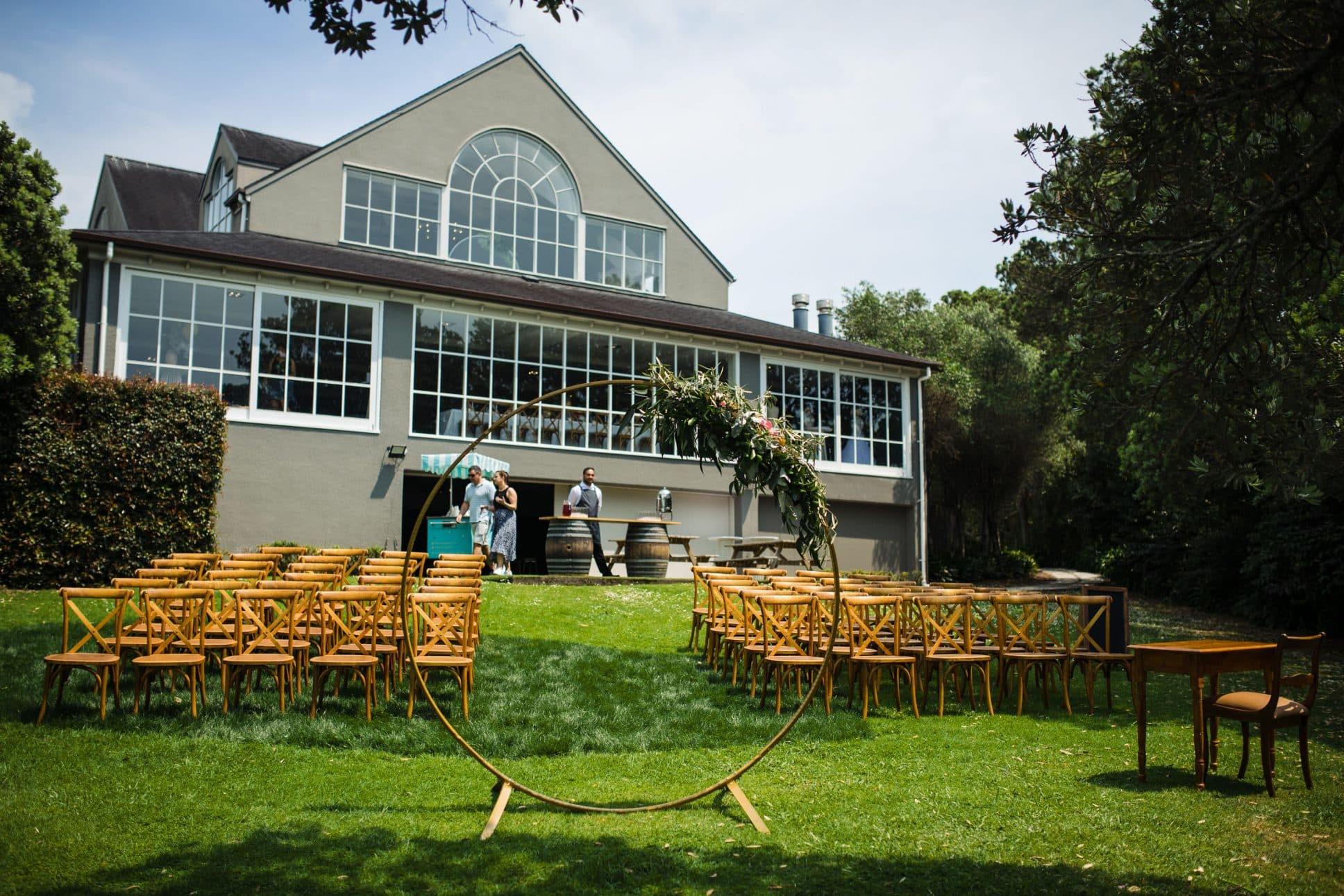 Wedding setup at Orakei Bay event venue in Auckland