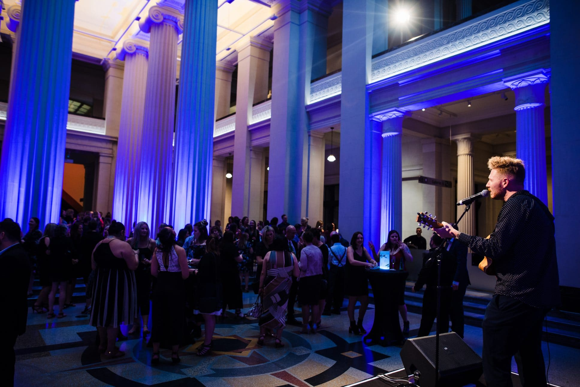 Performance at event in the Grand Foyer at Auckland War Memorial Museum.
