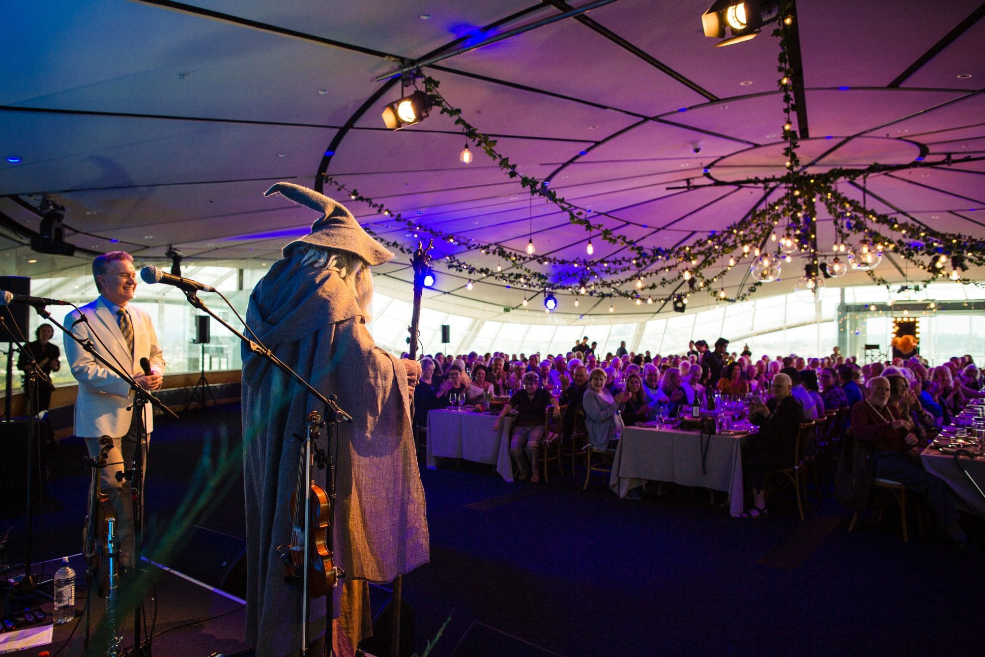Gandalf at event at Auckland War Memorial Museum.