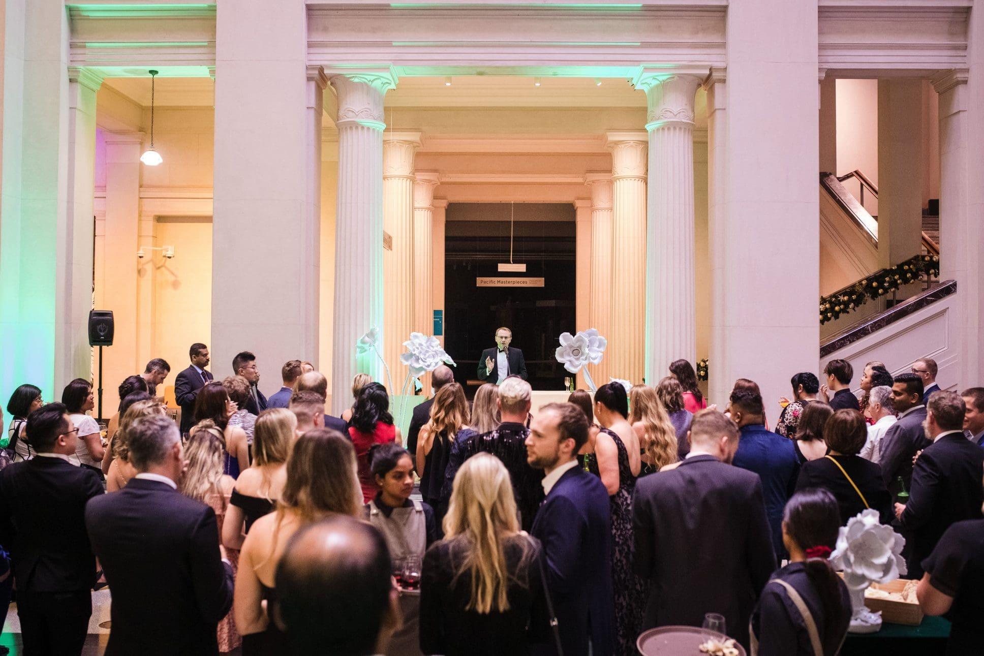 Grand Foyer event set up at Auckland War Memorial Museum.