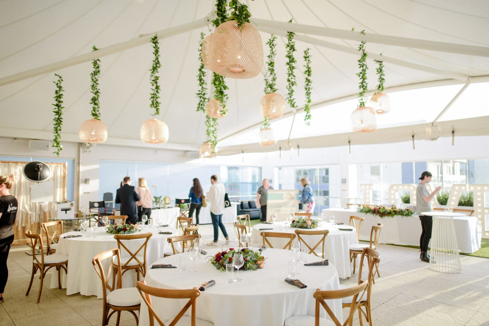 the Rooftop Terrace event set up at Rydges Auckland.