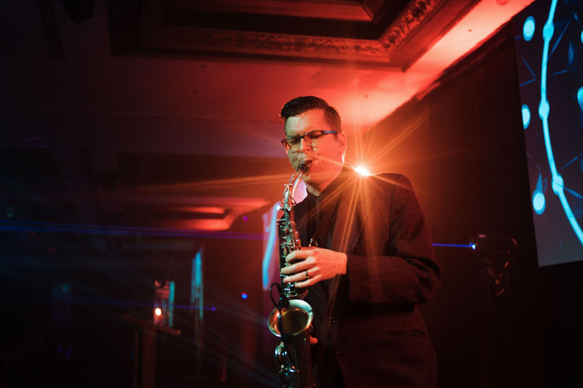 Saxophone player at Auckland's Westpac business awards held at cordis.