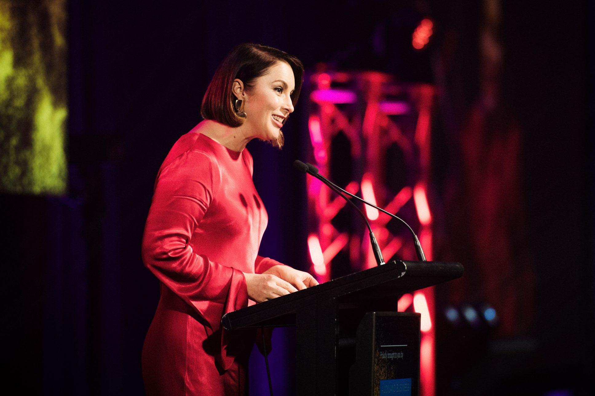 Westpac business awards speaker on stage